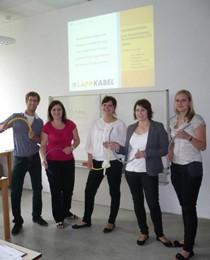 Projektmitglieder der Hochschule Aalen v. l.: Johannes Frey, Sonja Schönfelder, Nina Keller, Katharina Wieszt, Sina Weiler
