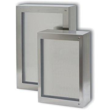 CLN - Rustfrie vægskabe med transparent låge