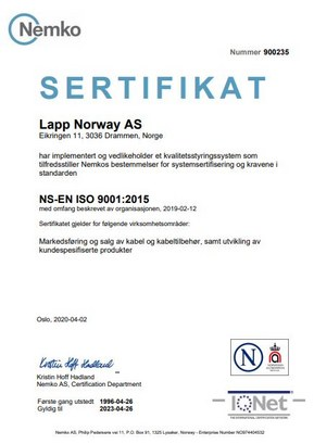 lapp-norway-iso-sertifikat-2020