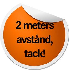 Etikett 2 meters avstånd, tack