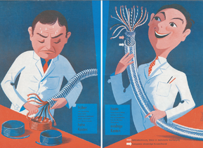 El primer folleto publicitario en 1958 se centra en los beneficios para el cliente.