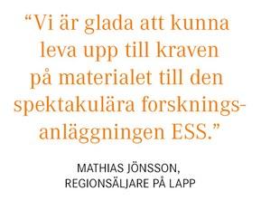 LAPP levererar kabel till European Spallation Source i Lund