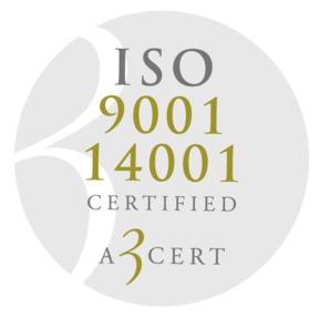 Certifierade enligt kvalitetsstandarden ISO 9001:2015 och miljöstandarden ISO 14001:2015