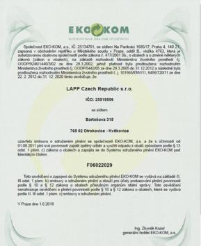 Certifikace od společnosti EKO-KOM, a.s.