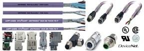 Rango de producto para DeviceNetTM: cables, latiguillos preconectorizados, conectores
