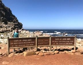 Gunilla på Godahoppsudden i Sydafrika