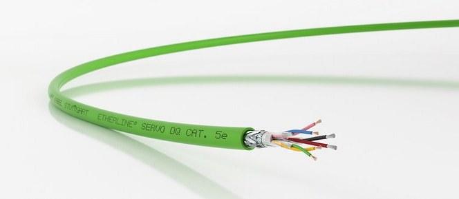 Sikker overføring av kraft og data i samme kabel med ETHERLINE® SERVO DQ FD P Cat 5e