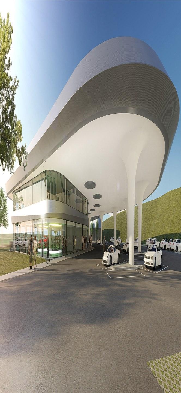Ilustrație a parcului de încărcare, cu restaurante, magazine şi spaţii de birouri