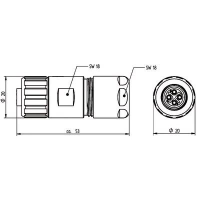 M12 Power kabelkontakt: Rak hona - S-kod