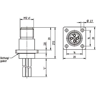 M12 Power chassikontakt: Hane, frontmontage - T-kod