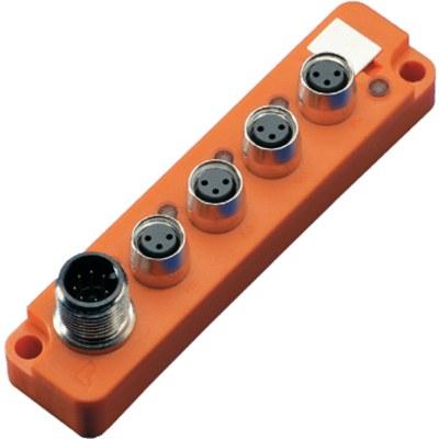 Splitterbox i plast med masterkabelanslutning, smalt utförande – M8-portar, 1 signal/port
