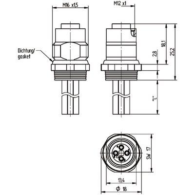 M12 Power chassikontakt: Hona, bakmontage - T-kod