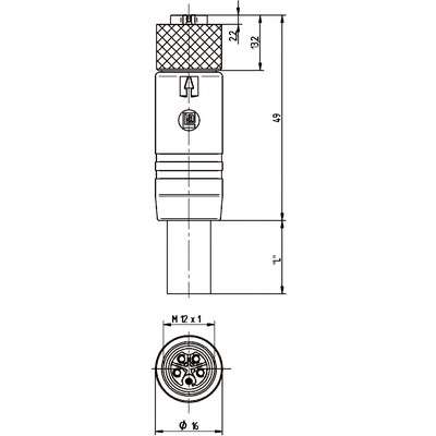 M12 Power rak hona till öppen ände - L-kod