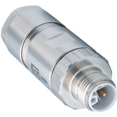 M12 Power kabelkontakt: Rak hane - L-kod