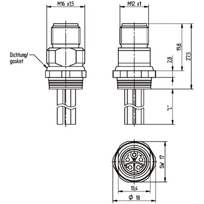 M12 Power chassikontakt: Hane, bakmontage - K-kod