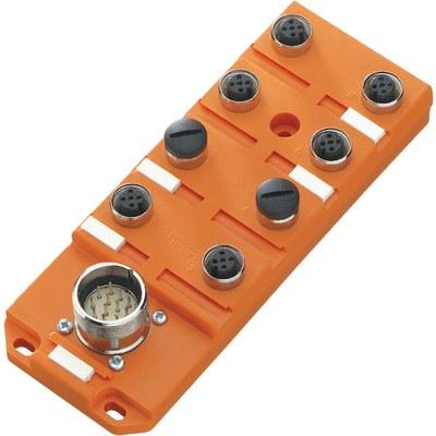 Splitterbox plast med masterkabelanslutning – M12-portar, 1 signal/port