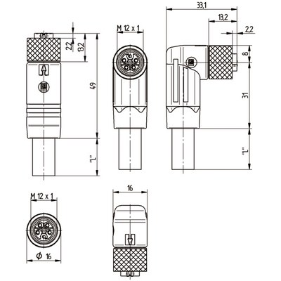M12 Power rak hane till M12 rak hona, skärmad - L-kod