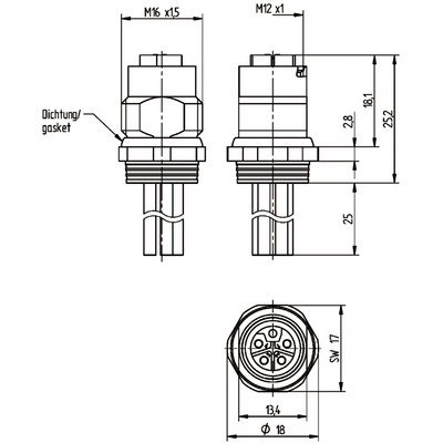 M12 Power chassikontakt: Hona, bakmontage - L-kod