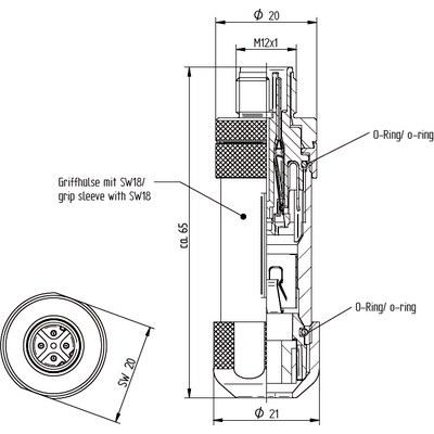 M12 kabelkontakt: Rak hane - D-kod