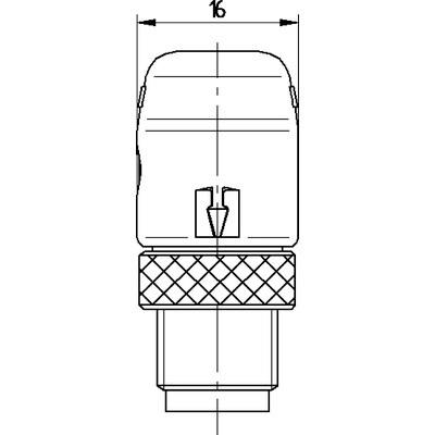 M12 Power vinklad hane till öppen ände, skärmad - T-kod