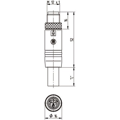 M12 Power rak hane till M12 vinklad hona - T-kod