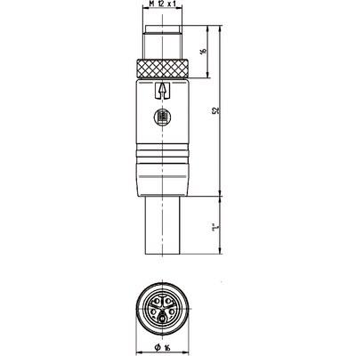 M12 Power rak hane till öppen ände, skärmad - L-kod
