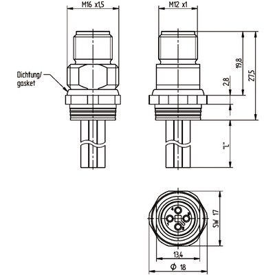 M12 Power chassikontakt: Hane, bakmontage - T-kod