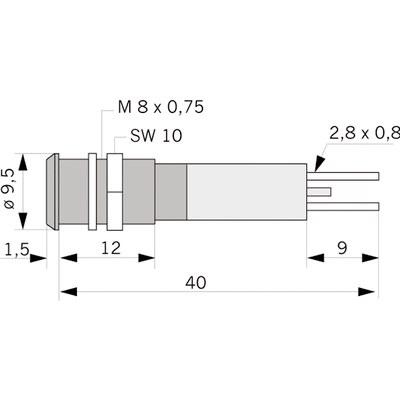 Panelindikator 1901, 5 mm/M8 std