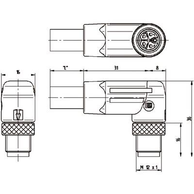 M12 Power vinklad hane till öppen ände - L-kod