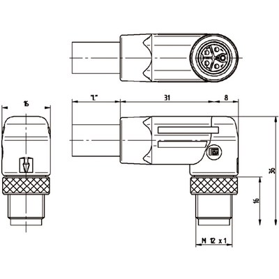 M12 Power vinklad hane till öppen ände, skärmad - L-kod