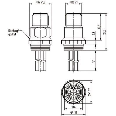 M12 Power chassikontakt: Hane, bakmontage - L-kod