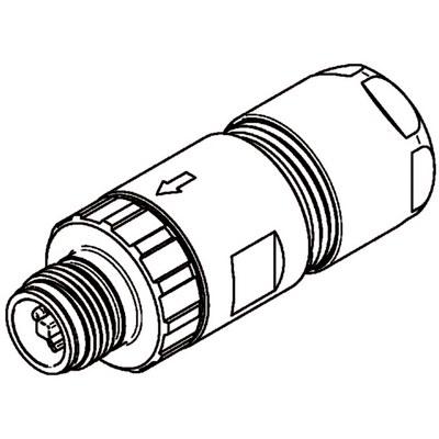M12 Power kabelkontakt: Rak hane - T-kod