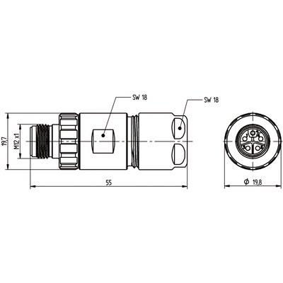 M12 Power kabelkontakt: Rak hane - K-kod