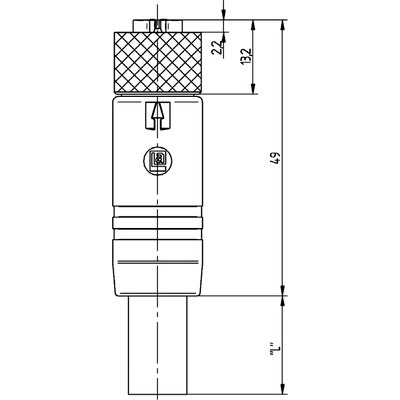 M12 Power rak hona till öppen ände, skärmad - K-kod