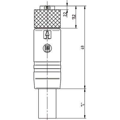 M12 Power rak hona till öppen ände, skärmad - S-kod