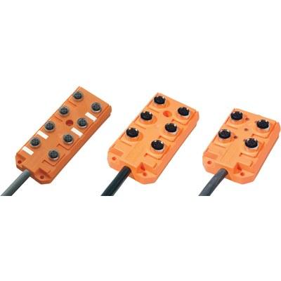 Splitterbox i plast med masterkabel – M12-portar, 1 signal/port