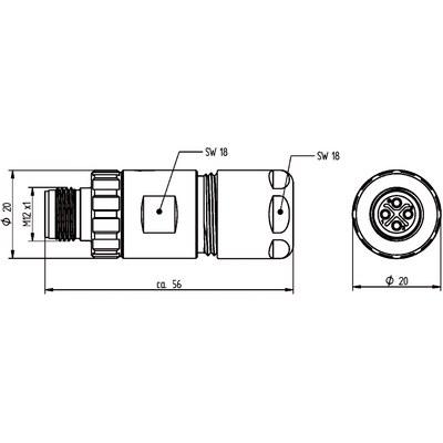 M12 Power kabelkontakt: Rak hane - S-kod
