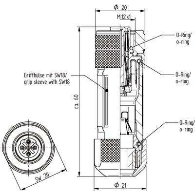 M12 kabelkontakt: Rak hona - D-kod