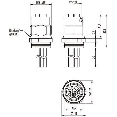M12 Power chassikontakt: Hona, bakmontage - K-kod