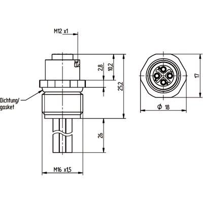M12 Power chassikontakt: Hona, frontmontage - S-kod