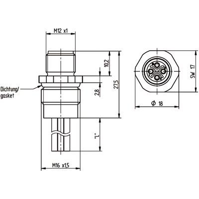 M12 Power chassikontakt: Hane, frontmontage - S-kod