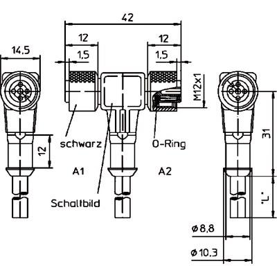 Givarkabel hona 2 x M12 T-koppling