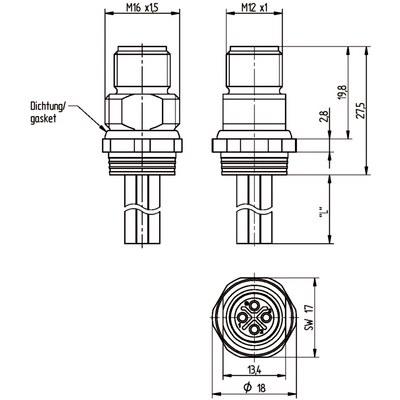 M12 Power chassikontakt: Hane, bakmontage - S-kod