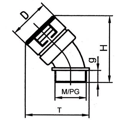 45° förskruvning IP67, M-gänga