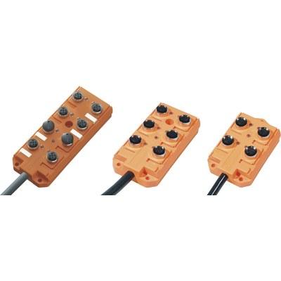 Splitterbox i plast med masterkabel – M12-portar, 2 signaler/port