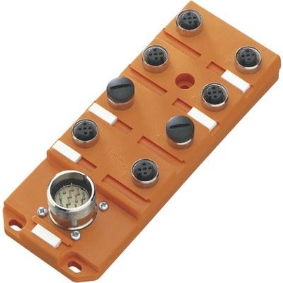 Splitterbox i plast med masterkabelanslutning – M12-portar, 2 signaler/port