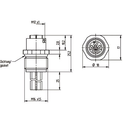 M12 Power chassikontakt: Hona, frontmontage - K-kod
