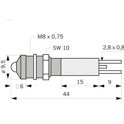 Panelindikator 1908, 5 mm/M8 EXTRA STARK