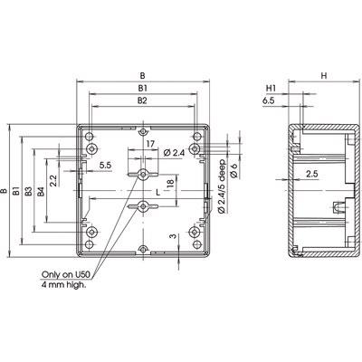 Universal - Kvadratisk tvåfärgad elektronikkapsling