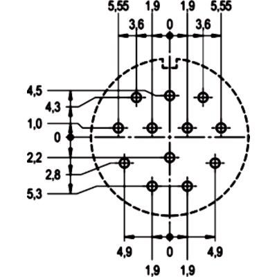 EPIC® SIGNAL M23 Изоляторы, 12 конт. для пайки на печатных платах